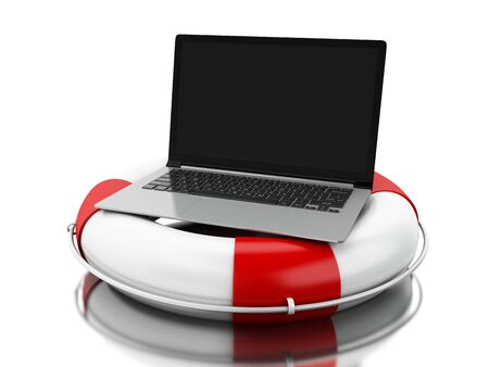Lifeguard with laptop.  Online help, support concept. 3d illustration