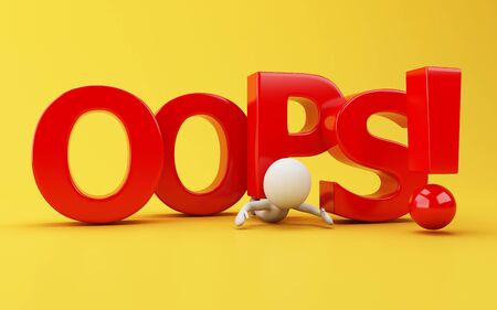 3d illustration. White people crushing with opps word on yellow background. Imagens