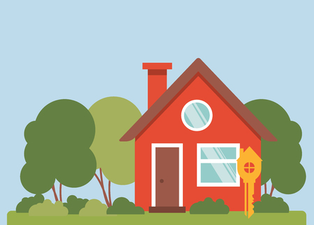 Vector illustration. House with a key on the front.