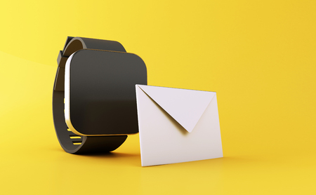 3d illustration. smart watch with unread message icon on yellow background. Mail Communication concept.