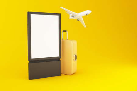 3d illustration. Blank signboard, Travel suitcase and airplane on yellow background. Travel and vacation concept.