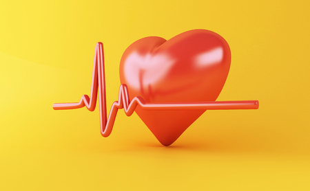 3d illustration. Heart with Heartbeat pulse line on yellow background. Health medical concept. Stok Fotoğraf