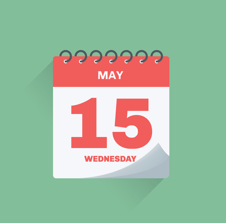 Vector illustration. Day calendar with date May 15. Фото со стока