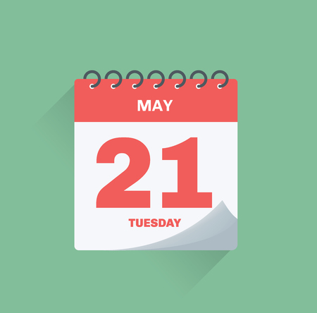 Vector illustration. Day calendar with date May 21.