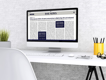 3D illustration. Modern workspace with digital newspaper on computer screen. Media and technology concept. All screen graphics are made up by us