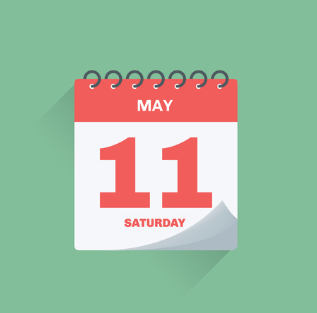 Vector illustration. Day calendar with date May 11.