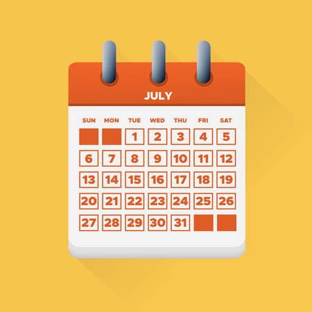 Vector illustration. July month for 2019 Calendar