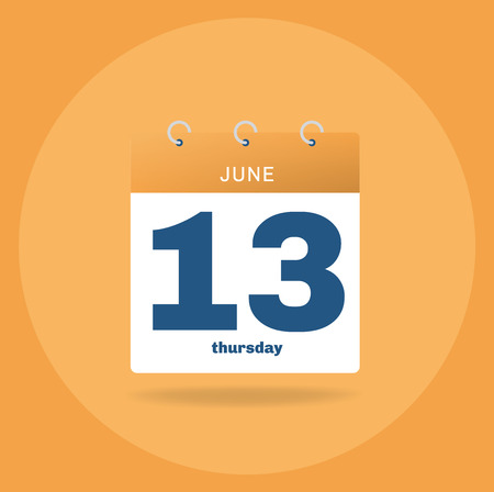 Vector illustration. Day calendar with date June 13.