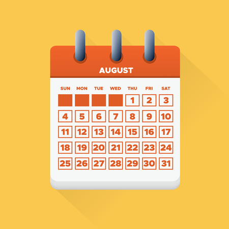 Vector illustration. August month for 2019 Calendar Ilustrace