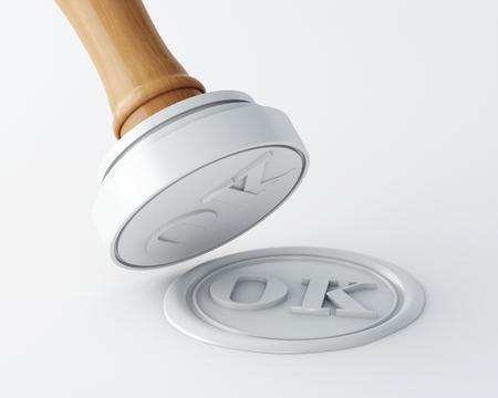 Illustration 3D. Tampon et cachet de cire avec texte ok. Fond blanc isolé.