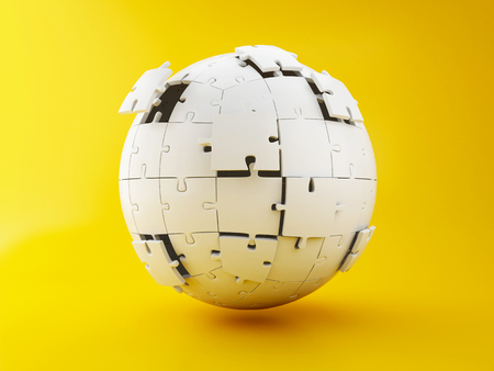 3d illustration. Spherical puzzle being build on yellow background. Business creativity and success concept. Stockfoto