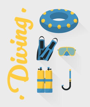 Vector illustration. Snorkeling and scuba diving set of elements. Illustration