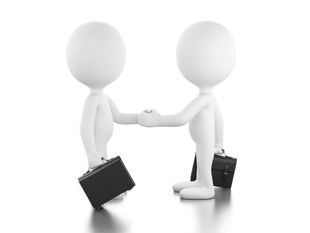 illustrazione 3D. L'uomo d'affari sta stringendo la mano. Concetto di affari. Sfondo bianco isolato.