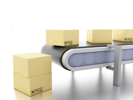 3d illustration.. Cardboard boxes on conveyor belt. E-commerce and packaging service concept.