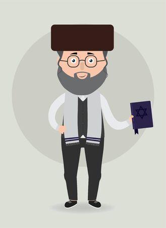 Vector illustration. Jewish man with traditional clothes. Vektorové ilustrace