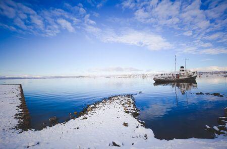The port of Ushuaia in winter, Tierra del Fuego, Argentina, Patagonia.