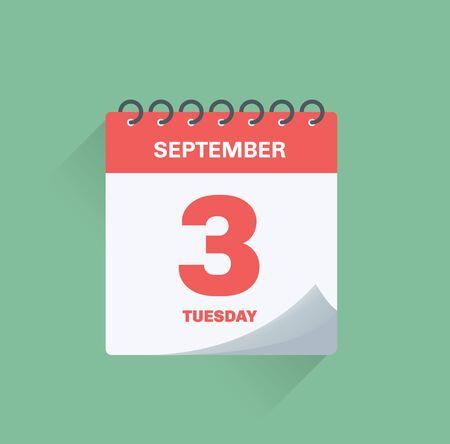 Illustration vectorielle. Calendrier journalier avec date le 3 septembre.