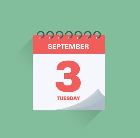 Ilustración de vector. Calendario de días con fecha 3 de septiembre.