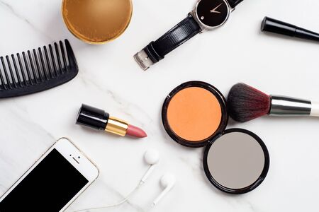 Close-up of some make up and beauty cosmetics. Banco de Imagens