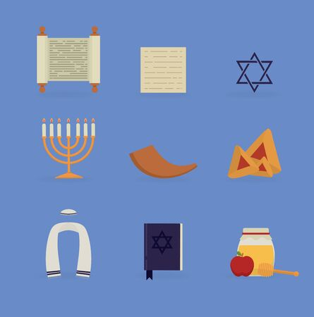 Vector illustration. Set of flat icon of jewish culture. Hanukah, Purim, Pesach, Rosh Hashanah, Yom Kippur, Shabbat. Religion concept