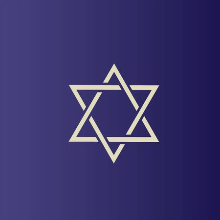 Vector illustration. Flat icon of Star of David. Jewish religion concept Ilustração