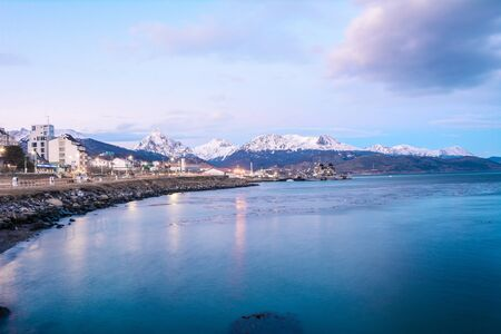 A view of Ushuaia, ocean and mountains in winter, Tierra del Fuego, Argentina, Patagonia 写真素材