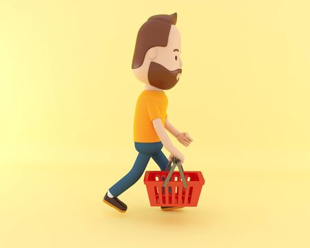 3d illustration. Cartoon character with shopping basket on yellow background. Sale concept.