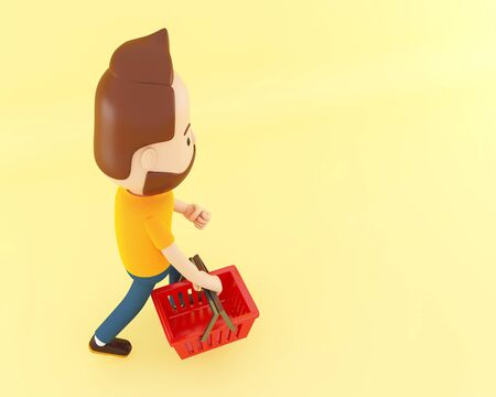 3d illustration. Cartoon character with shopping basket on yellow background. Sale concept. Stock Illustration - 130136868