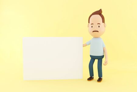 3d renderer illustration. Cartoon character with blank board on yellow background.