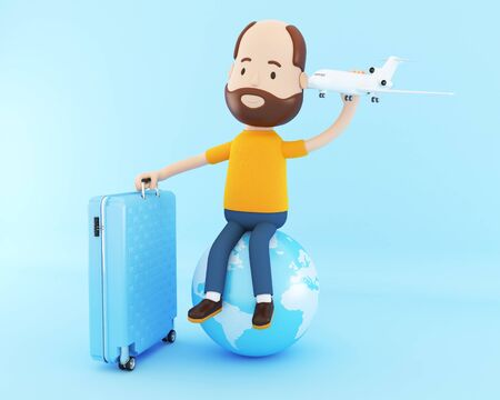 3d illustration. People tourist with travel suitcases and airplane, goes on vacation. Travel concept.