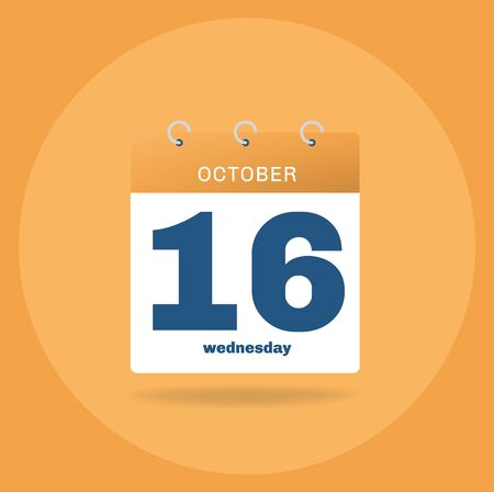 Vector illustration. Day calendar with date October 16.