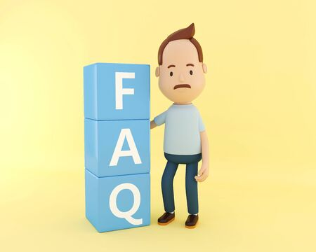 3d illustration. Person standing next to FAQ on yellow background