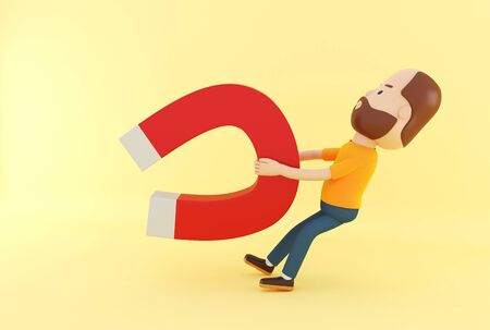 3d illustration. Cartoon character people with horseshoe magnet on yellow background.