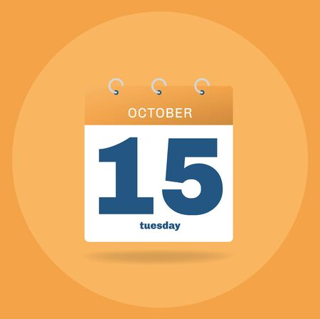 Vector illustration. Day calendar with date October 15.