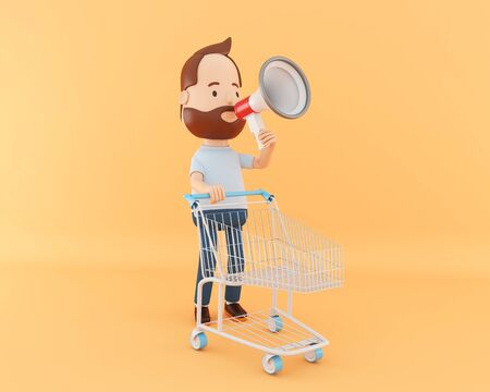 3d illustration. Cartoon character with shopping cart and megaphone. Sale concept.
