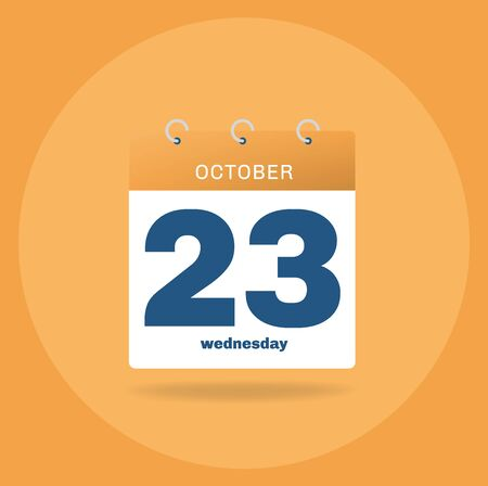 Vector illustration. Day calendar with date October 23.