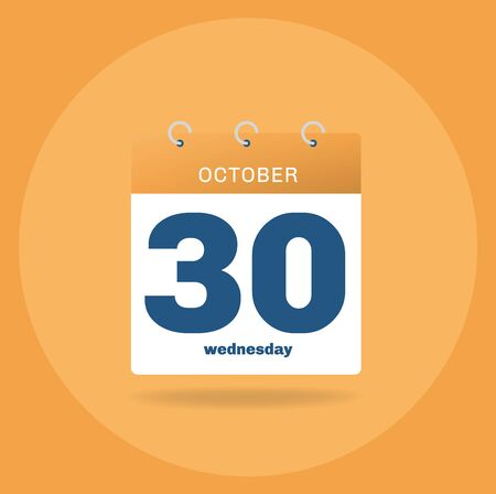 Vector illustration. Day calendar with date October 30.