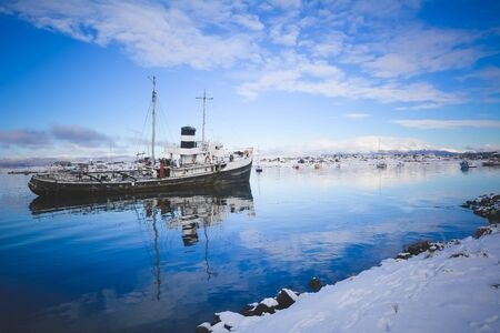 The port of Ushuaia in winter, Tierra del Fuego, Argentina, Patagonia.