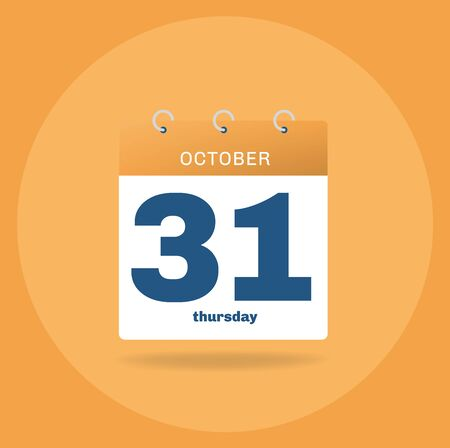 Vector illustration. Day calendar with date October 31.