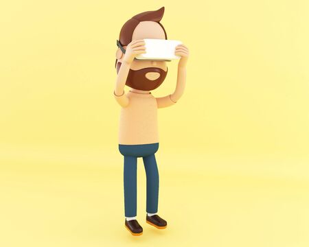 3d illustration. Cartoon character playing with virtual reality glasses on yellow background.