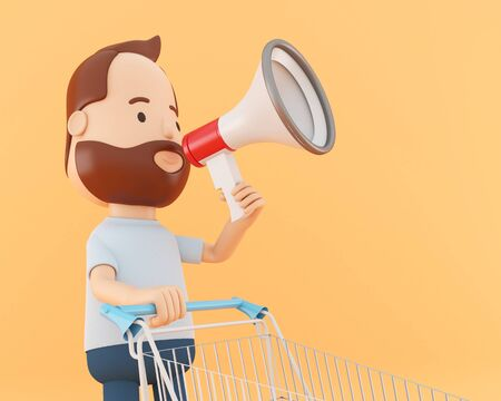 3d illustration. Cartoon character with shopping cart and megaphone. Sale concept. Stock Illustration - 130136444