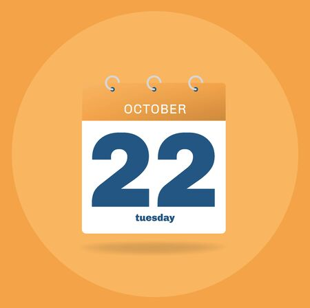 Vector illustration. Day calendar with date October 22.