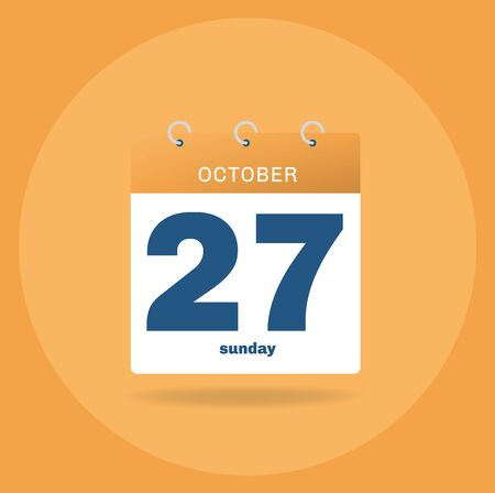 Vector illustration. Day calendar with date October 27