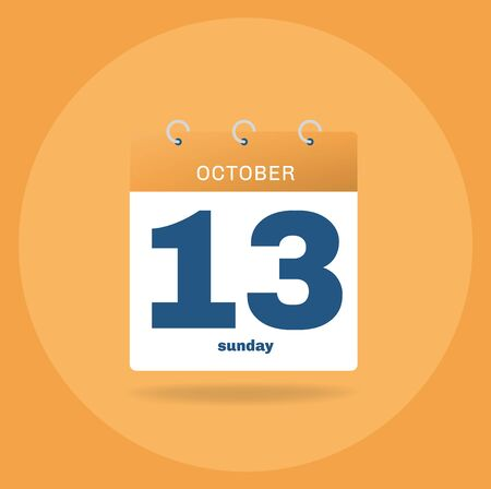 Vector illustration. Day calendar with date October 13.