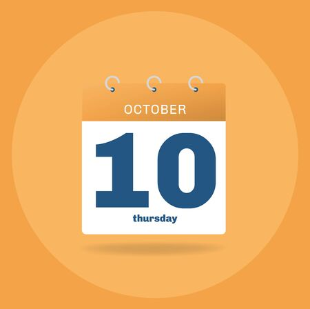 Vector illustration. Day calendar with date October 10.
