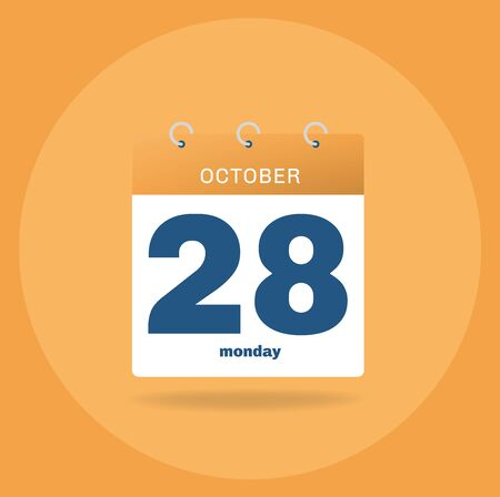 Vector illustration. Day calendar with date October 28.