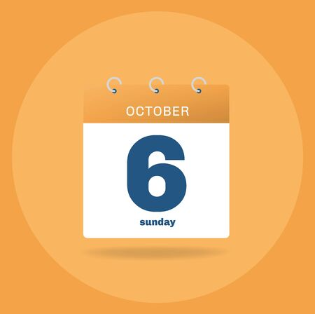 Vector illustration. Day calendar with date October 6.