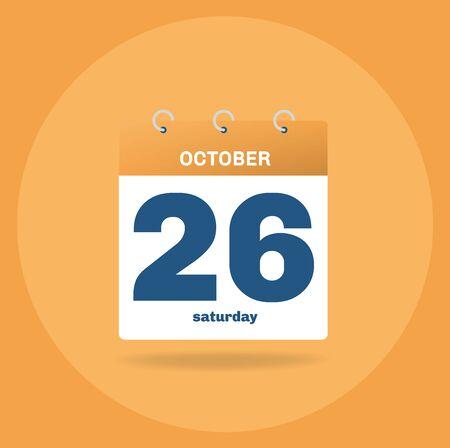 Vector illustration. Day calendar with date October 26. Illustration