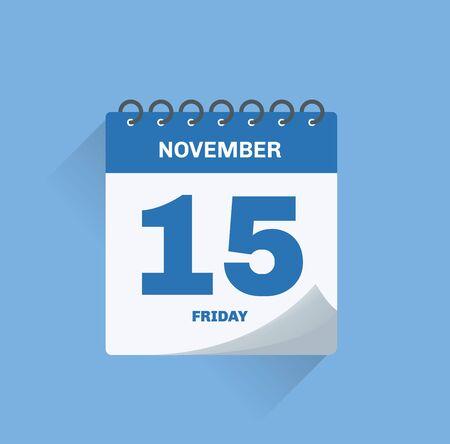 Vector illustration. Day calendar with date November 15.