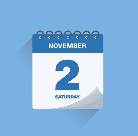Vector illustration. Day calendar with date November 2.